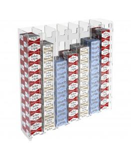 E-236 ESS-G - Espositore porta sigarette da parete in plexiglass trasparente per sigarette da 20 con 7 colonne