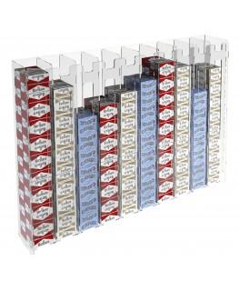 E-236 ESS-L - Espositore porta sigarette da parete in plexiglass trasparente per sigarette da 20 con 10 colonne