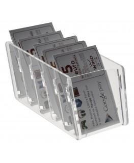 E-285 EPS-A - Espositore schede telefoniche da banco in plexiglass trasparente 7 x 14 x H6.50