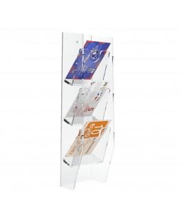 E-286 EPS-A - Espositore schede telefoniche da parete in plexiglass trasparente con 3 tasche