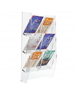 E-286 EPS-E - Espositore schede telefoniche da parete in plexiglass trasparente con 6 tasche