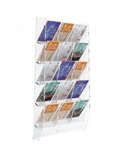 E-286 EPS-L - Espositore schede telefoniche da parete in plexiglass trasparente con 15 tasche