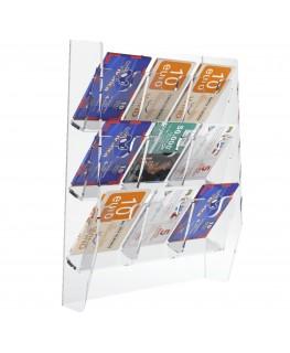 E-286 EPS-I - Espositore schede telefoniche da parete in plexiglass trasparente con 9 tasche