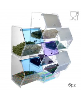 E-314 EPG-A - Porta caramelle in plexiglass trasparente e colorato con 6 scomparti