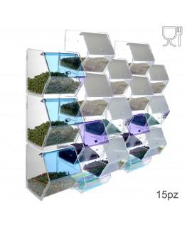 E-314 EPG-D - Porta caramelle in plexiglass trasparente e colorato con 15 scomparti