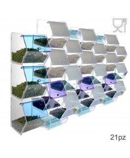 E-314 EPG-E - Porta caramelle in plexiglass trasparente e colorato con 21 scomparti