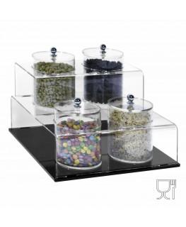 E-522 EPG-A - Porta graniglie o granelle in plexiglass trasparente e base nera con 4 scomparti