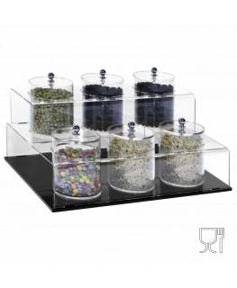 E-522 EPG-B - Porta graniglie o granelle in plexiglass trasparente e base nera con 6 scomparti