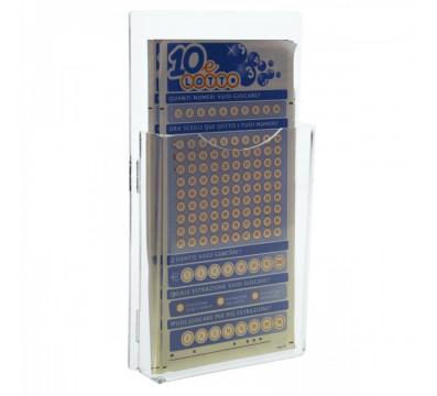 Espositore schedine da parete in plexiglass trasparente