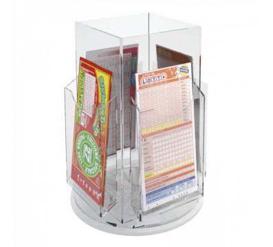 E-280 - Espositore schedine da banco girevole in plexiglass trasparente