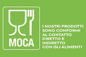Espositori in Plexiglass per Alimenti - prodotti da DesignPlex - sono conformi al contatto diretto e indiretto con gli alimenti e pertanto dispongono di Certificazione MOCA.